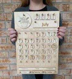 Laser Cut Wooden Calendar Free Vector