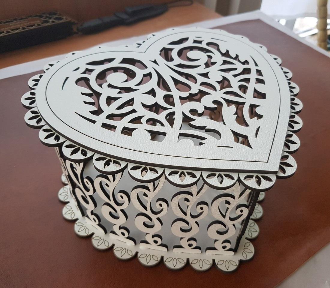 Laser Cut Decorative Wooden Heart Box Free Vector