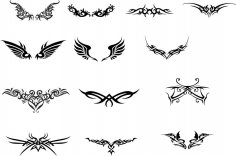 Tattoo Totem Wings Vector Set Free Vector