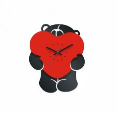 Bear with Heart Clock Laser Cut Free Vector