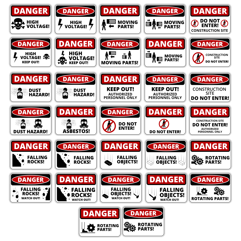Danger Table Vector Set Free Vector