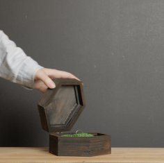 Laser cut wood box Free Vector