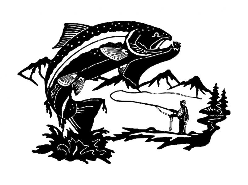 Fish Fisherman dxf File