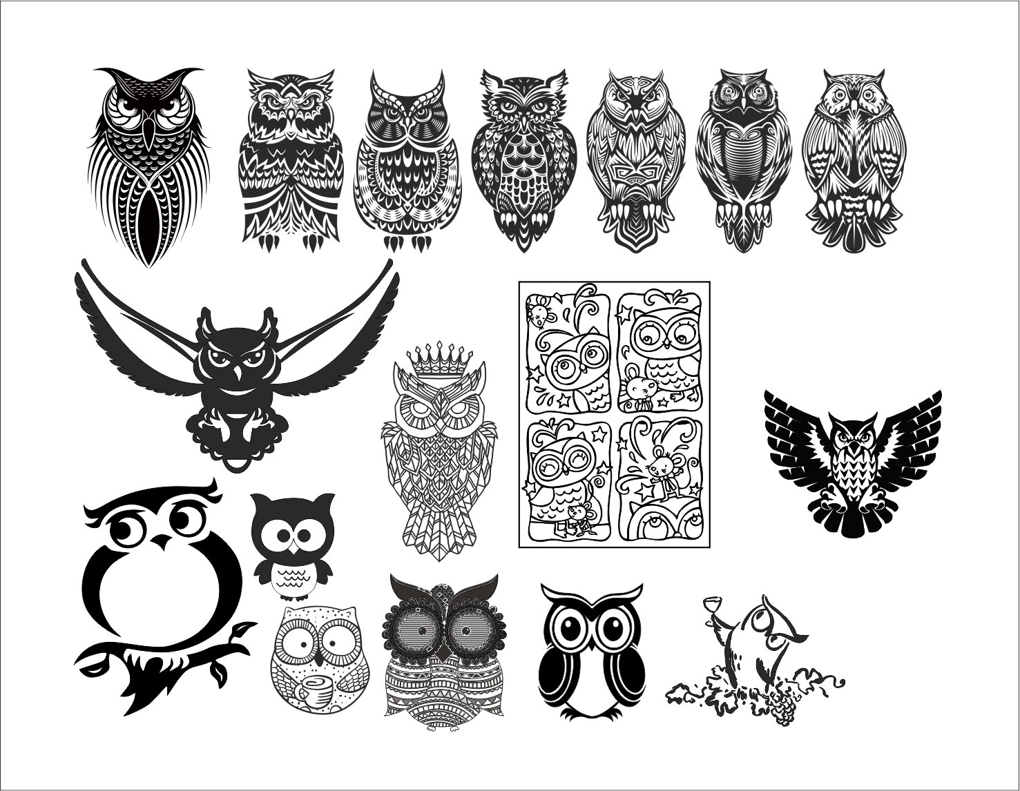 Large set of black and white owl vectors Free Vector