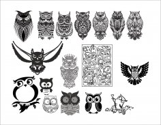 Large set of black and white owl vectors CDR File