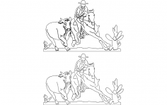 Cowboy And Rodeo Scene dxf File