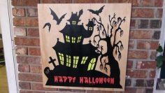 Halloween Spooky House Sign dxf File