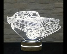 Creative 3D LED Car Night Lamp DXF File