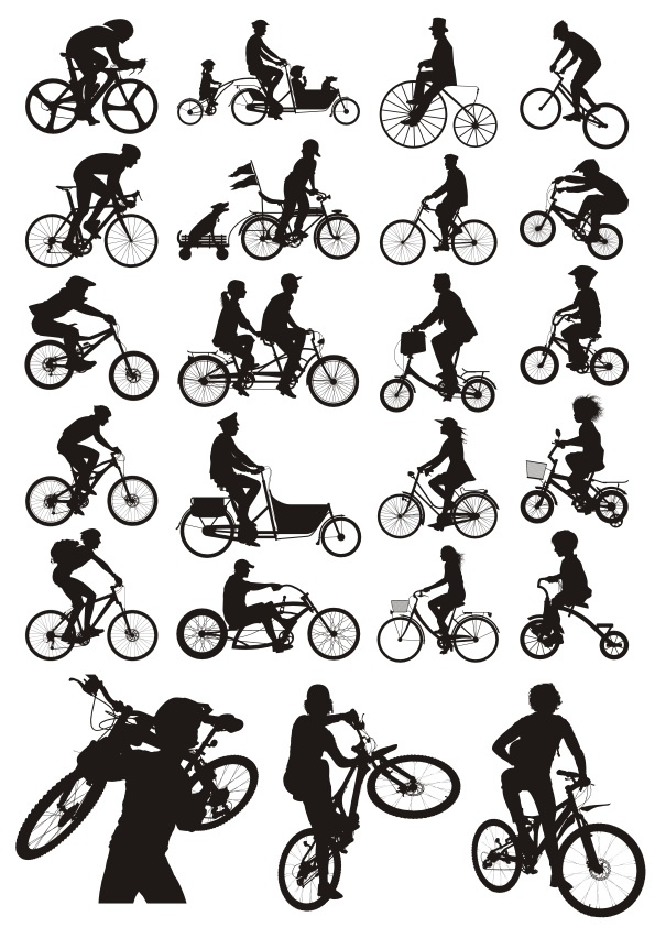 Bicycles Silhouettes Free Vector