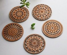Laser cut coasters Free Vector