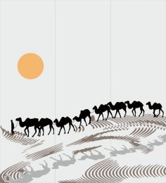 Sandblasting drawing Camels in desert Decal CDR File