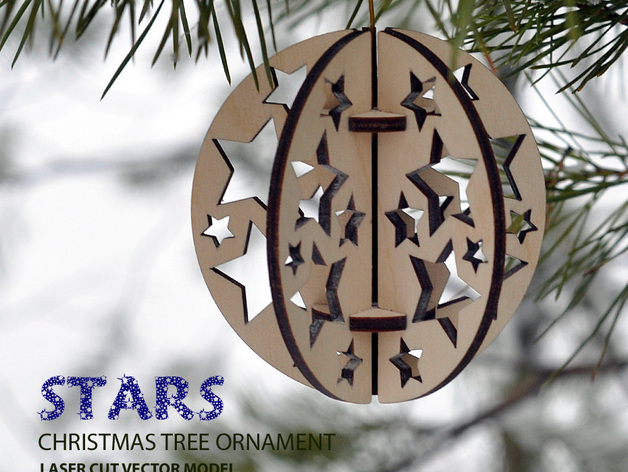 Stars. Christmas tree ball ornament DXF File