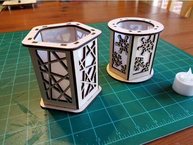 Laser Cut Candle Holder Lantern Lines DXF File