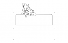 Desk Nameplate With Butterfly dxf File