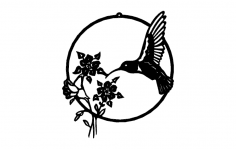 Hummingbird with Flowers dxf File