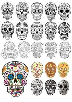 Day Of The Dead Skulls vector art Free Vector