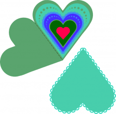 Layered Heart Fold Card Free Vector