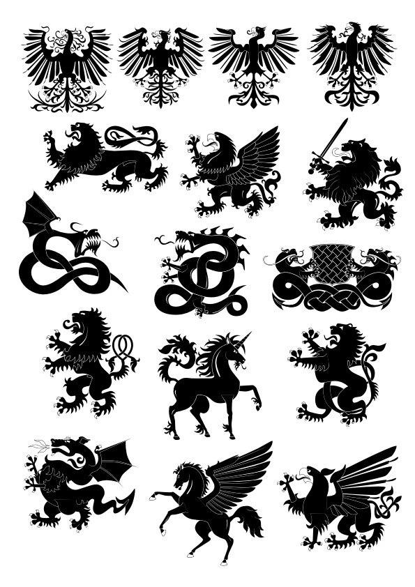 Heraldry animals vector set Free Vector