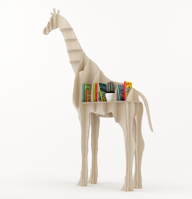 Laser Cut Giraffe Bookshelf Shelf Furniture DXF File