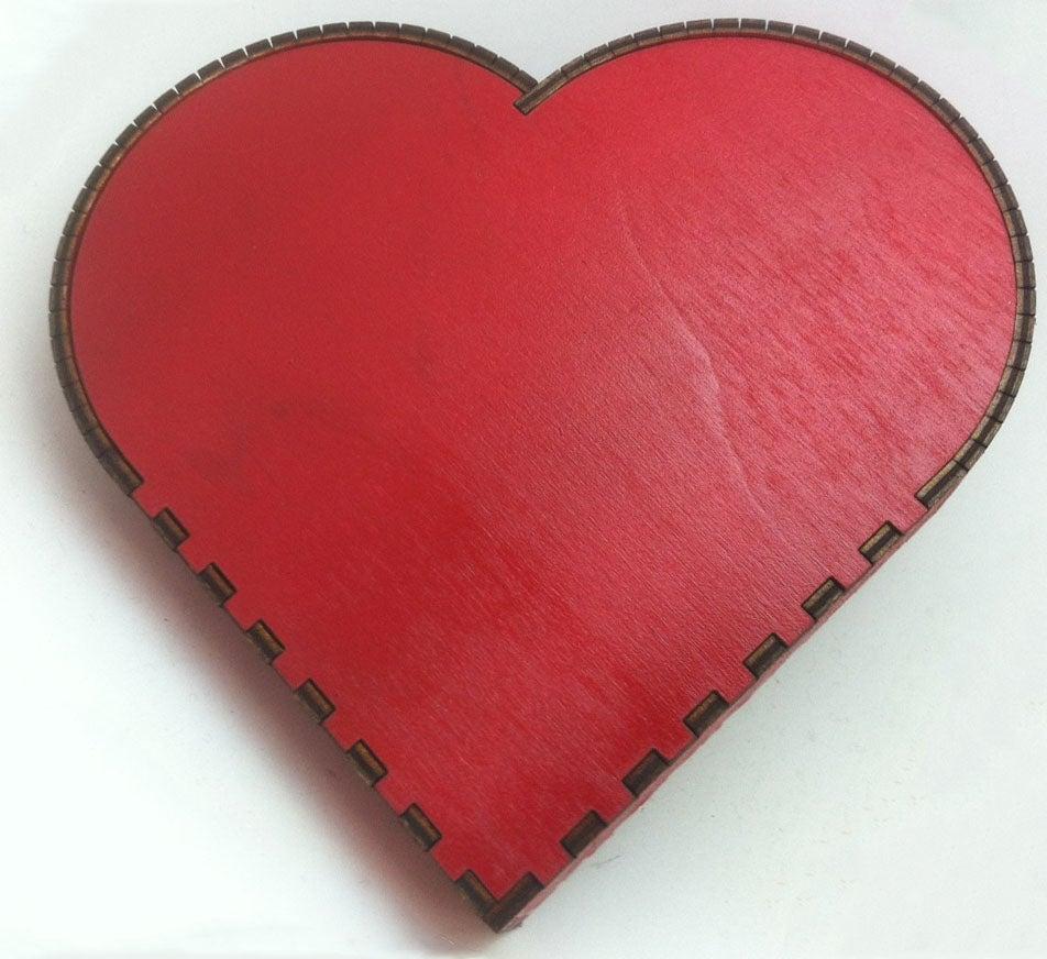 Laser Cut Wooden Heart Box Template SVG File