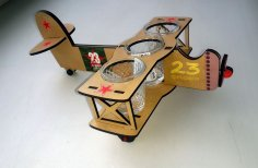 Laser Cut Airplane Shaped Wine Glass Holder Free Vector