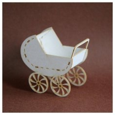Laser Cut 3D Baby Stroller Free Vector
