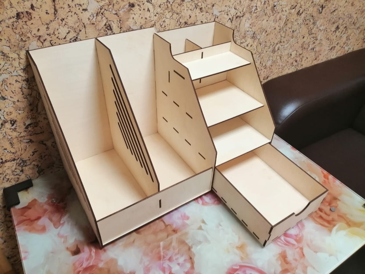 Laser Cut Wooden Office Organizer With Drawer Free Vector