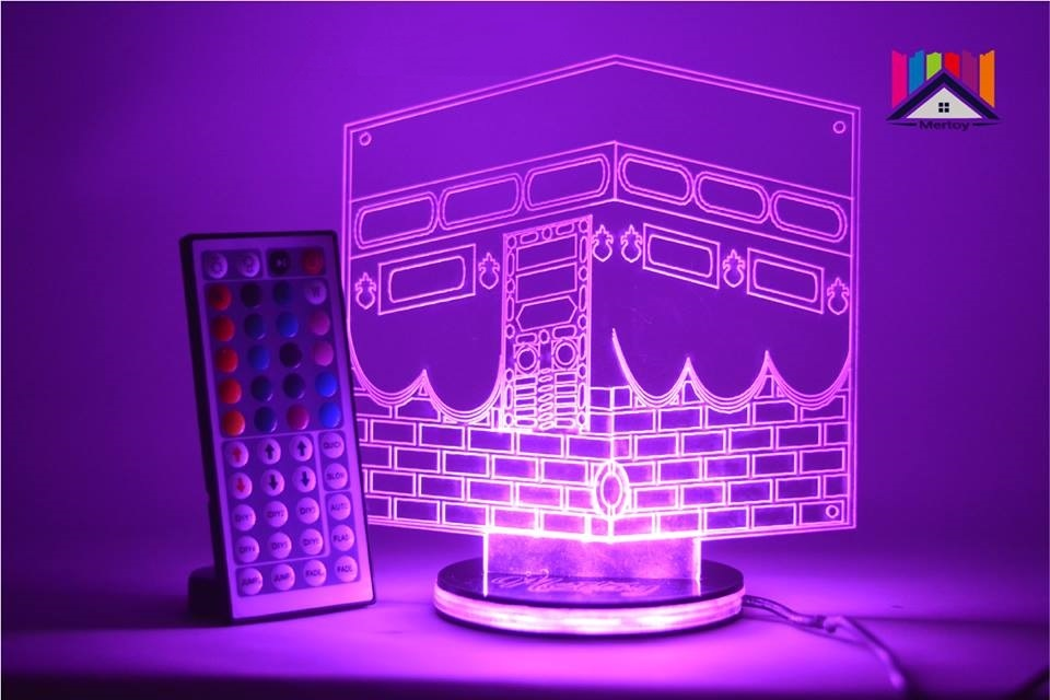Laser Cut Ramadan Eid 3D Night Light Mecca Mosque Islamic Muslim DXF File