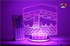 Laser Cut Ramadan Eid 3D Night Light Mecca Mosque Islamic Muslim DXF File