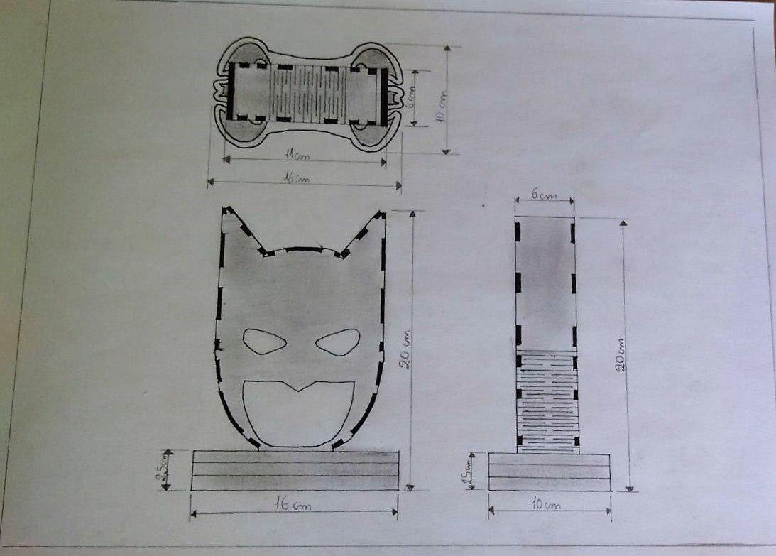 Laser Cut Batman Head Lamp Night Light DXF File