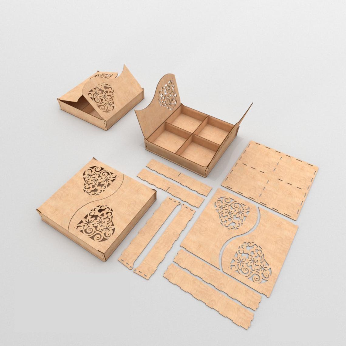 Laser Cut Love Box Wooden Gift Box Free Vector