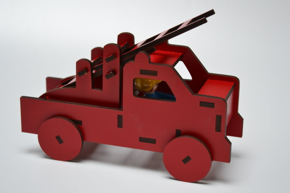 Laser Cut Playmobil Fire Truck Wooden Toy For Kids 4mm MDF SVG File