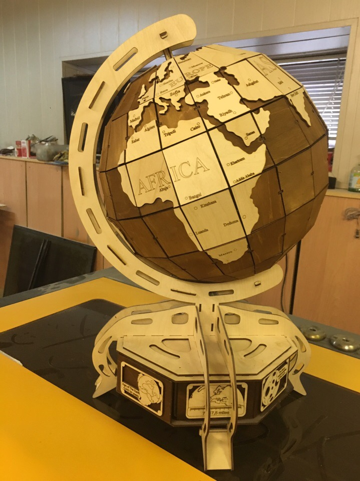 Laser Cut Wooden 3D Globe Model Free Vector