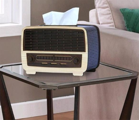 Laser Cut Radio Shape Napkin Holder With Drawer Free Vector