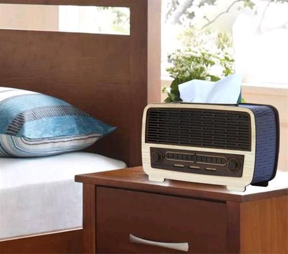 Laser Cut Radio Shape Napkin Holder With Drawer Free Vector