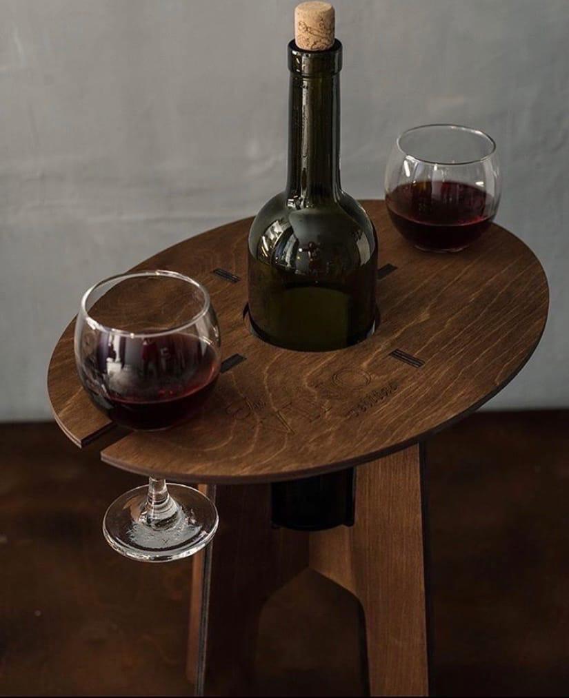 Laser Cut Wine Bottle And Glass Holder Holds 2 Glasses Free Vector