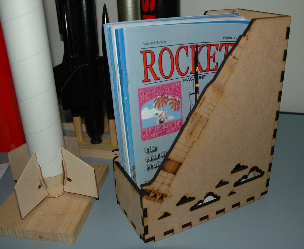 Laser Cut Rocket Magazine Storage 6mm MDF Free Vector