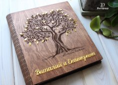 Laser Cut Personalized Wooden Family Photo Album Scrapbook Book Cover Free Vector
