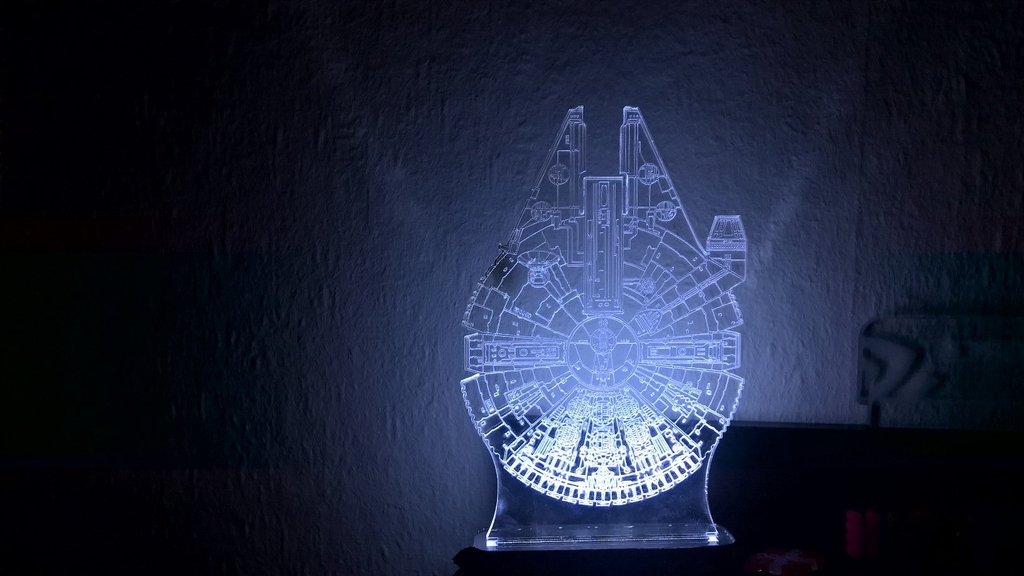 Laser Cut Star Wars Millenium Droid 3D Optical Illusion Lamp Free Vector