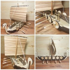 Laser Cut Rook Wooden Viking Ship Free Vector