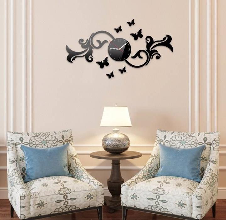 Laser Cut Fancy Butterfly Wall Clock Template Free Vector