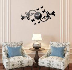 Laser Cut Fancy Butterfly Wall Clock Template Free Vector