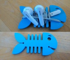 Laser cut Fish Earbud Holder DXF File