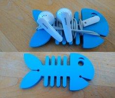 Laser cut Fish Earbud Holder DXF File