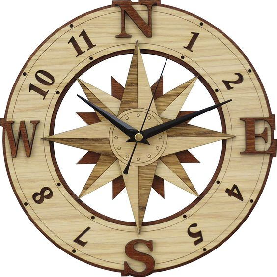 Laser Cut Compass Wall Clock Template Free Vector