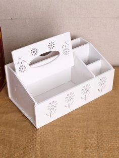 Laser Cut Tissue Box with Organizer Free Vector