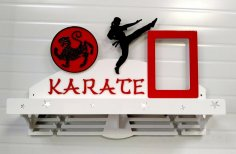 Laser Cut Karate Sport Medal Hanger Free Vector