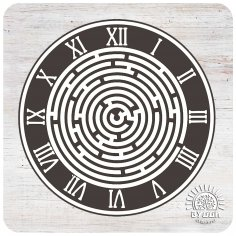 Laser Cut Labyrinth Wall Clock Template Free Vector
