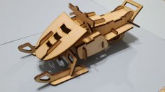 Laser Cut Plywood Snowmobile DXF File