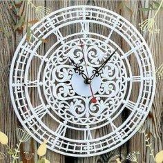 Laser Cut Elegant Clock Openwork Dial Free Vector